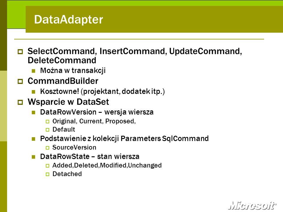DataAdapter SelectCommand, InsertCommand, UpdateCommand, DeleteCommand