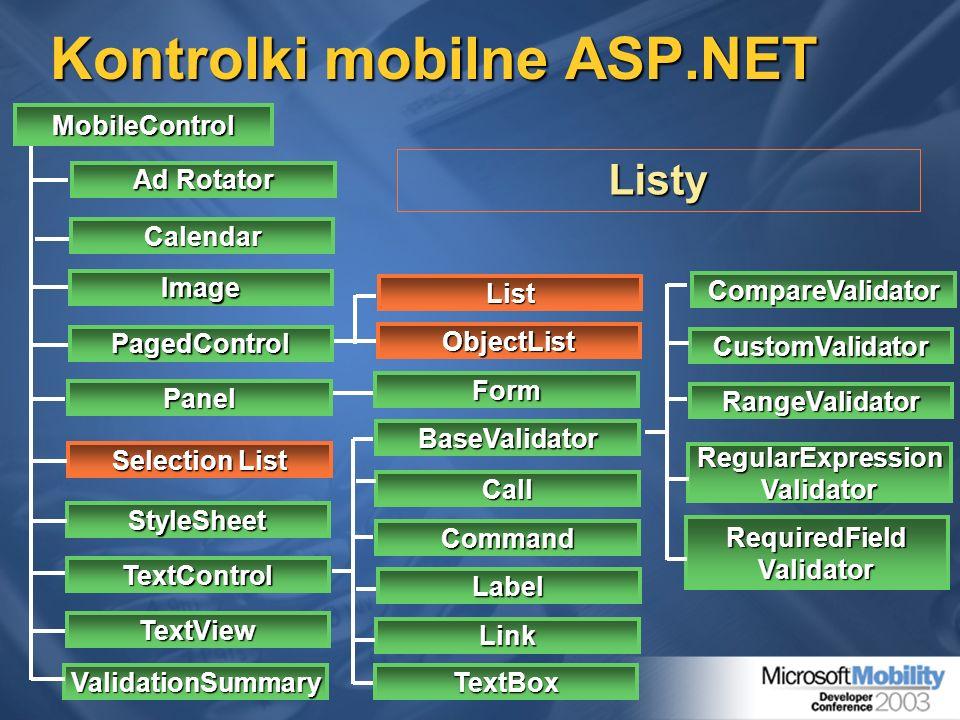 Kontrolki mobilne ASP.NET