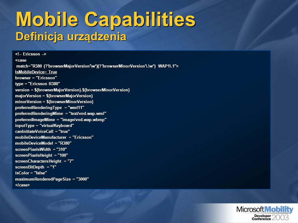 Mobile Capabilities Definicja urządzenia