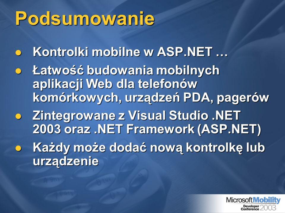 Podsumowanie Kontrolki mobilne w ASP.NET …