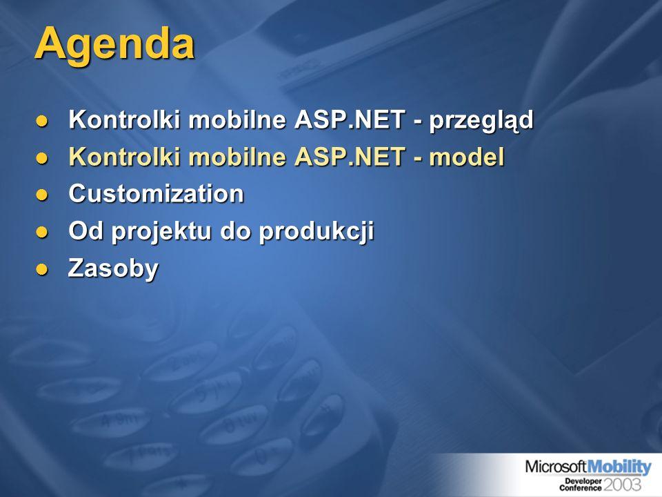 Agenda Kontrolki mobilne ASP.NET - przegląd