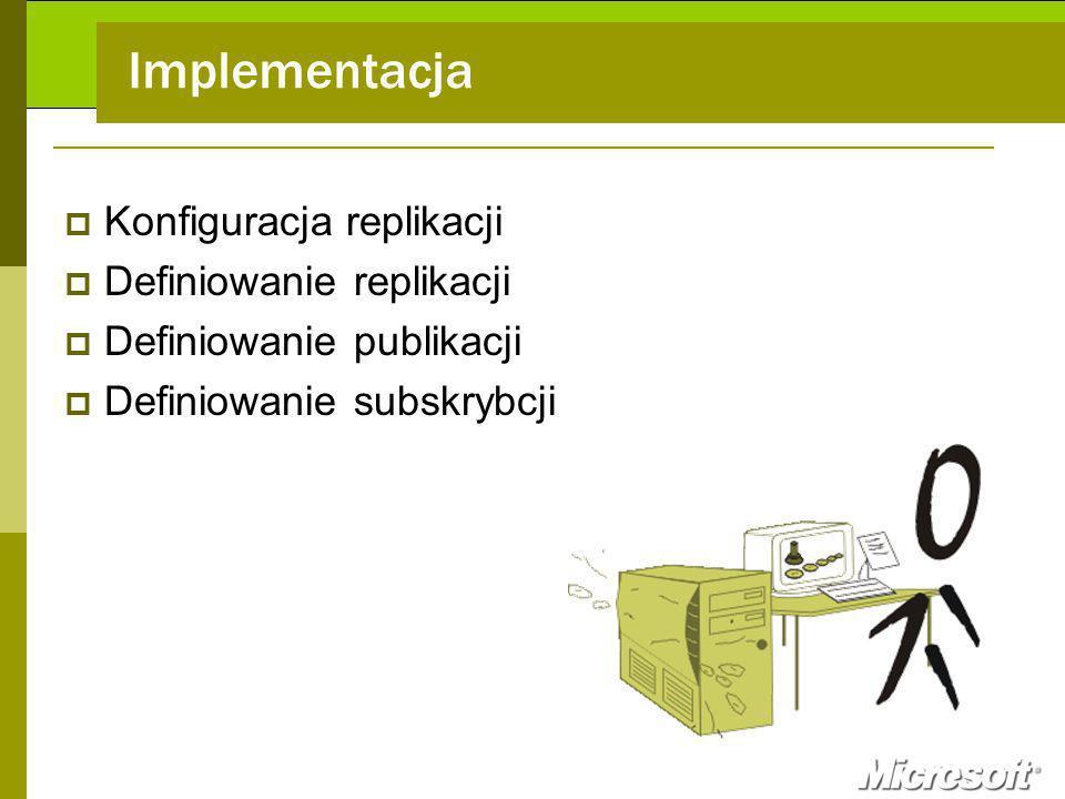 Implementacja Konfiguracja replikacji Definiowanie replikacji