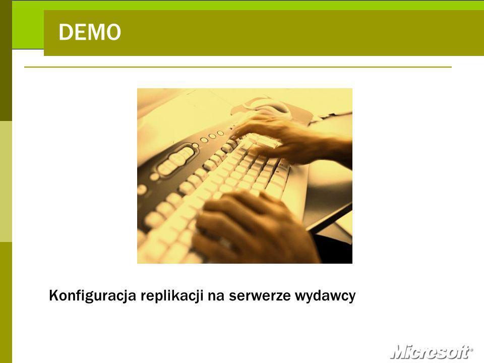 DEMO Konfiguracja replikacji na serwerze wydawcy