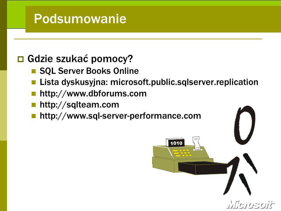 Podsumowanie Gdzie szukać pomocy SQL Server Books Online