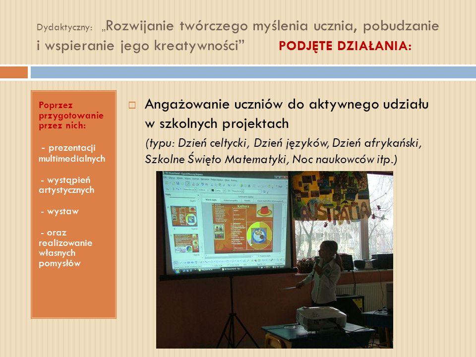 Angażowanie uczniów do aktywnego udziału w szkolnych projektach
