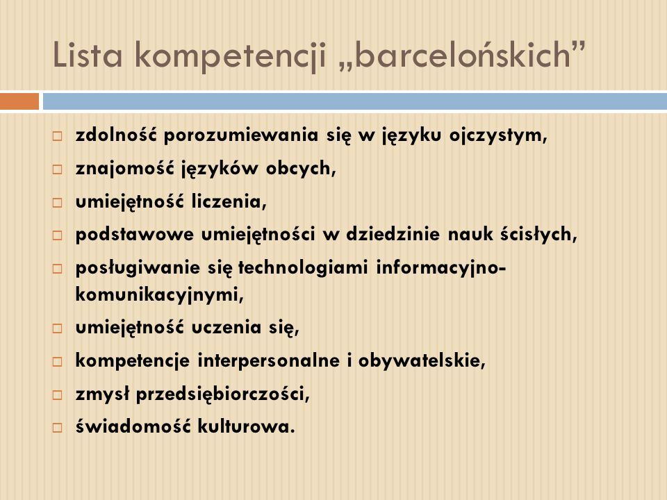"Lista kompetencji ""barcelońskich"
