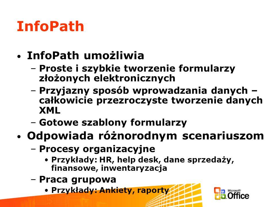 InfoPath InfoPath umożliwia Odpowiada różnorodnym scenariuszom