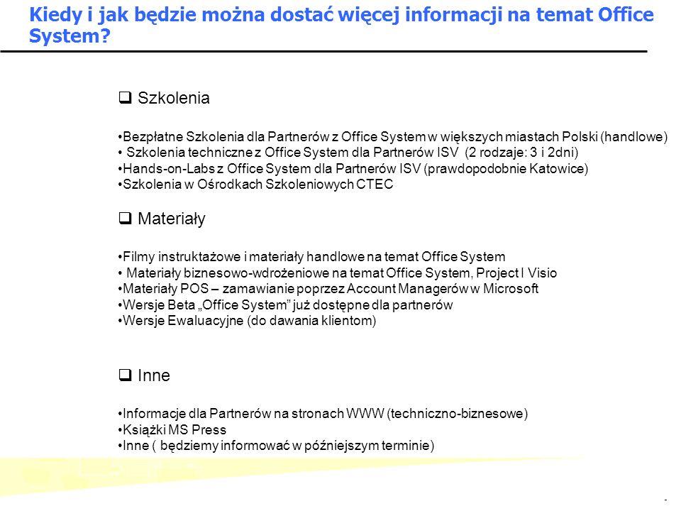 Kiedy i jak będzie można dostać więcej informacji na temat Office System