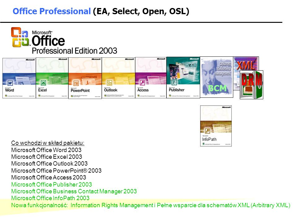 Office Professional (EA, Select, Open, OSL)