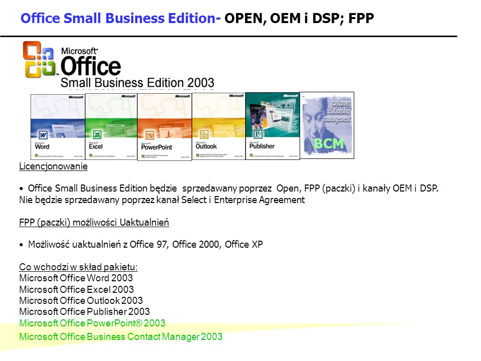 Office Small Business Edition- OPEN, OEM i DSP; FPP