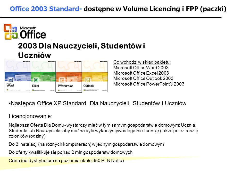 Office 2003 Standard- dostępne w Volume Licencing i FPP (paczki)