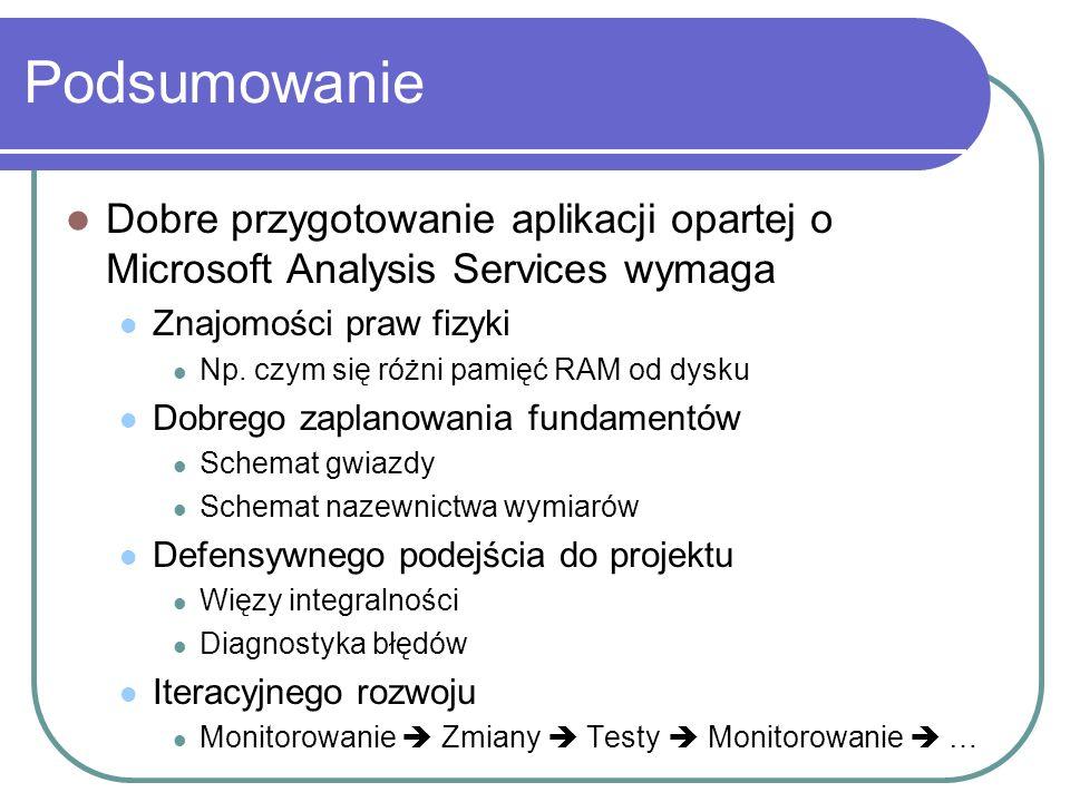 Podsumowanie Dobre przygotowanie aplikacji opartej o Microsoft Analysis Services wymaga. Znajomości praw fizyki.