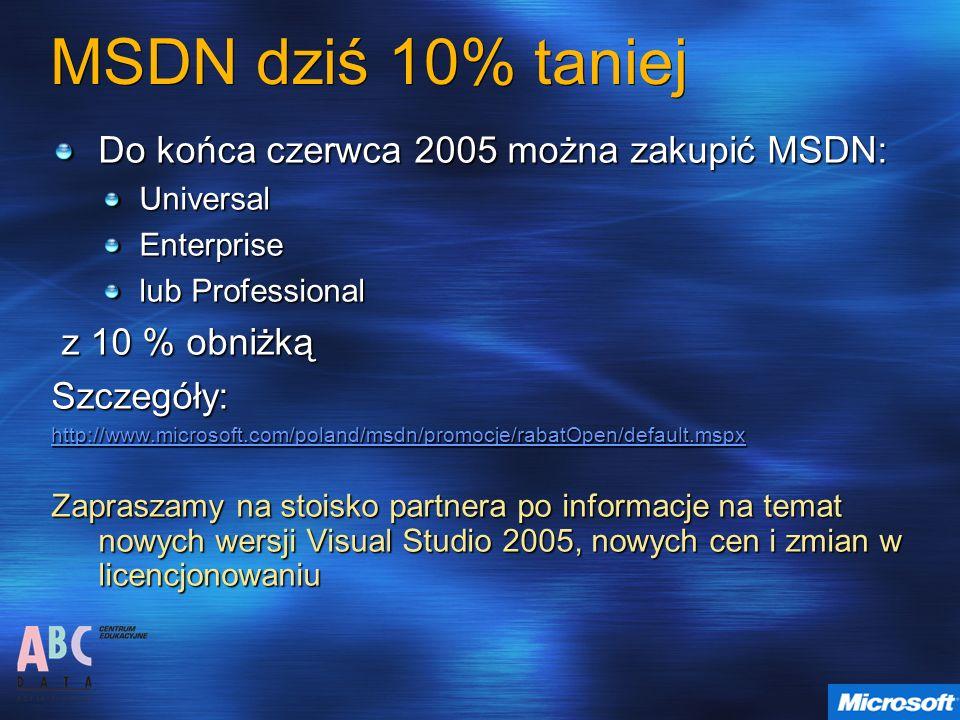 MSDN dziś 10% taniej Do końca czerwca 2005 można zakupić MSDN:
