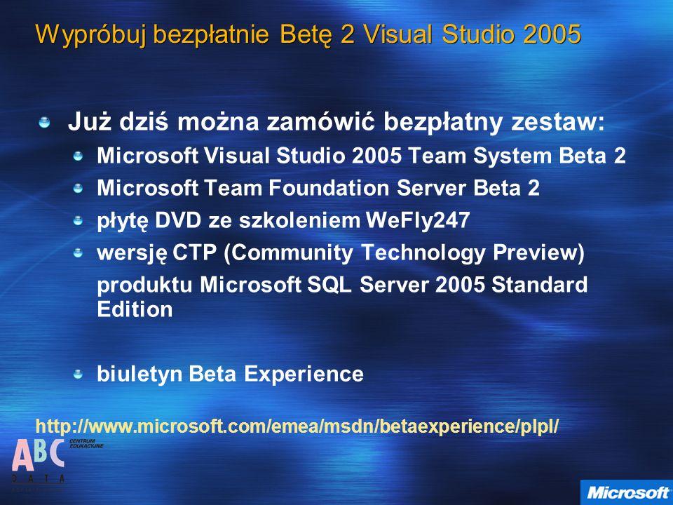 Wypróbuj bezpłatnie Betę 2 Visual Studio 2005