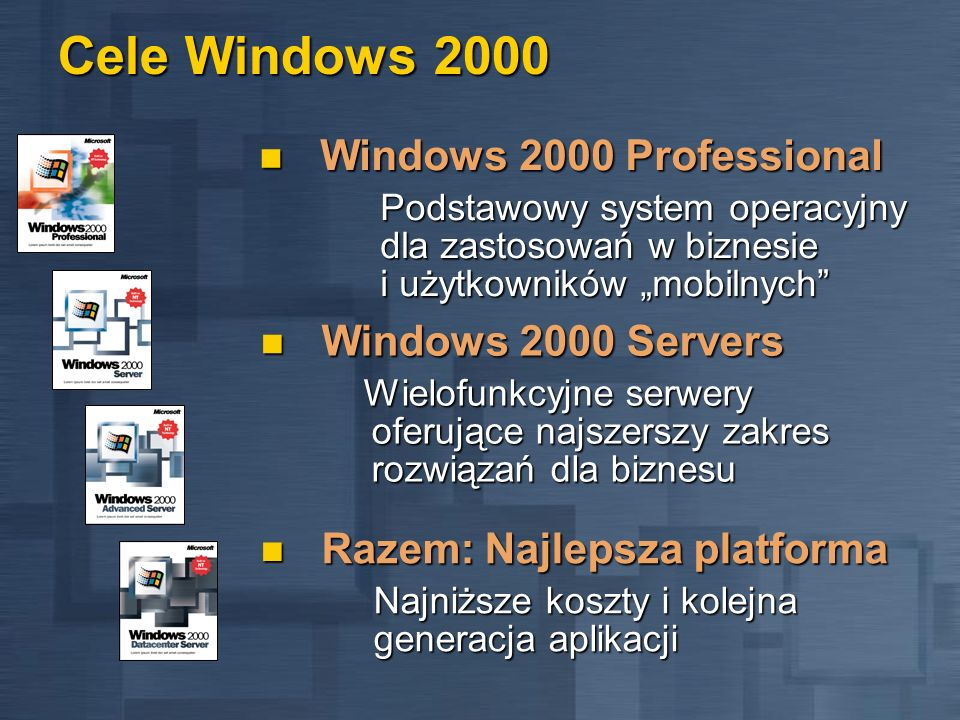 Cele Windows 2000 Windows 2000 Professional Windows 2000 Servers
