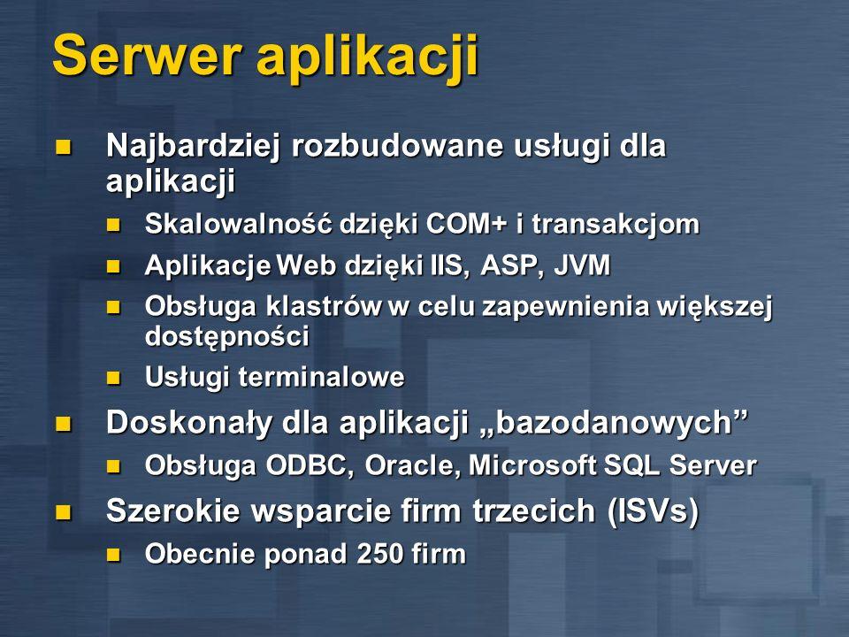 Serwer aplikacji Najbardziej rozbudowane usługi dla aplikacji