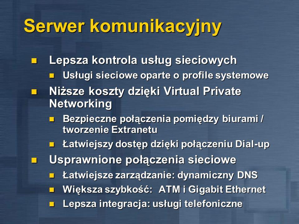 Serwer komunikacyjny Lepsza kontrola usług sieciowych