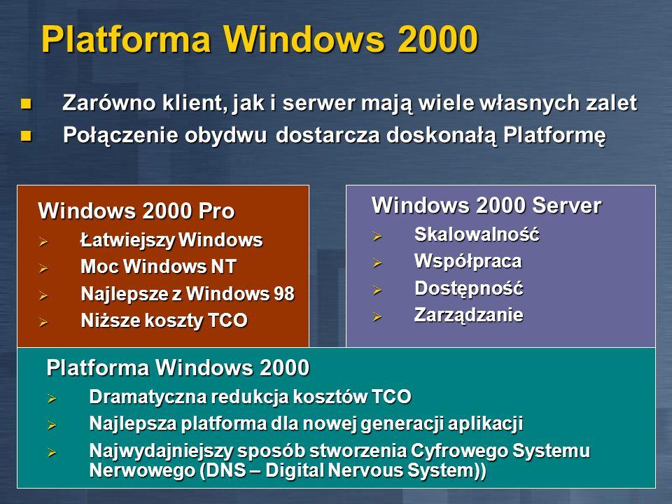 Platforma Windows 2000 Zarówno klient, jak i serwer mają wiele własnych zalet. Połączenie obydwu dostarcza doskonałą Platformę.