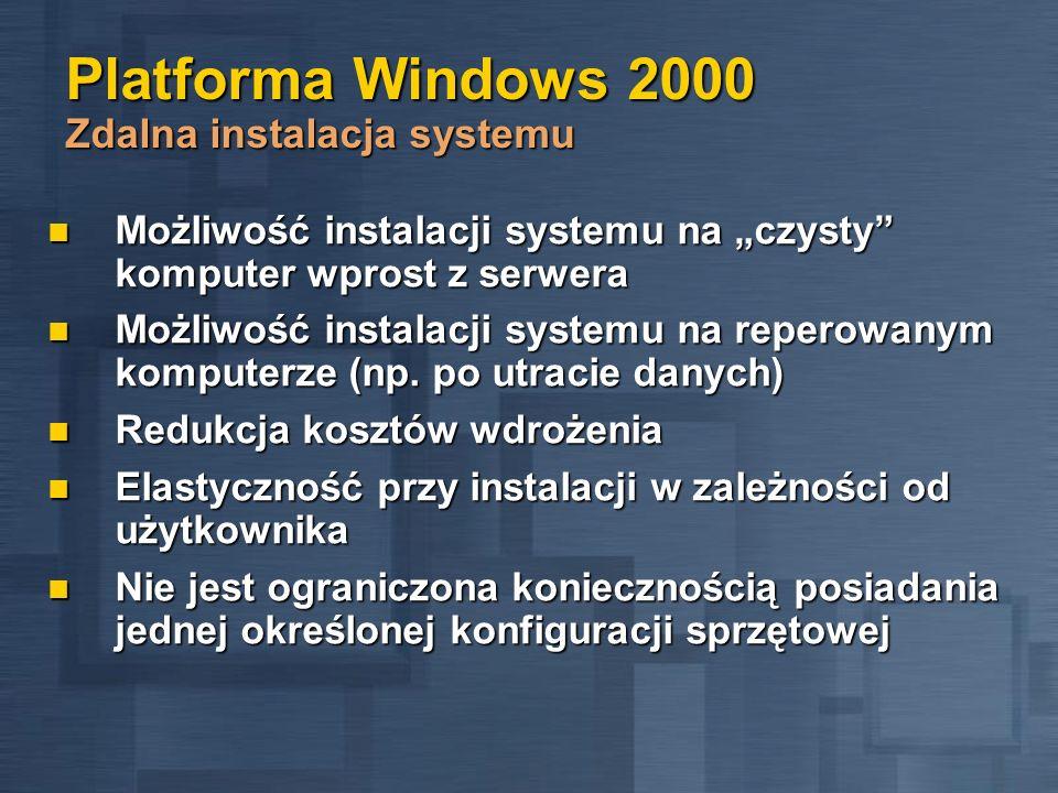 Platforma Windows 2000 Zdalna instalacja systemu