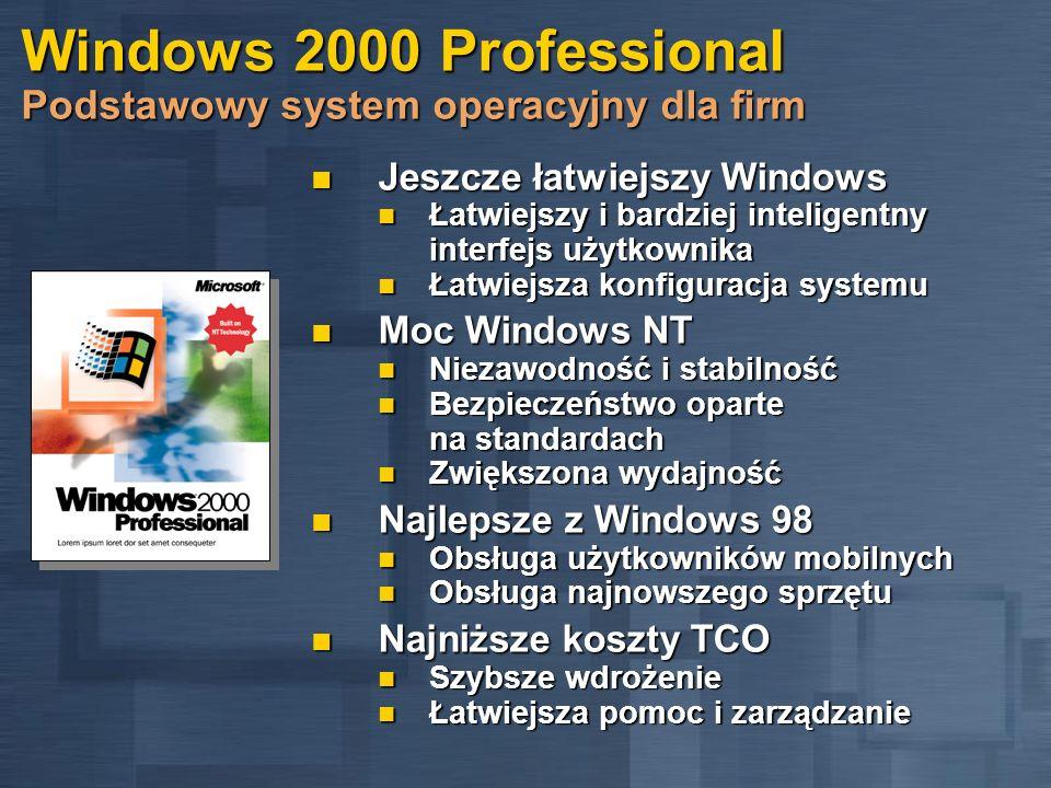 Windows 2000 Professional Podstawowy system operacyjny dla firm