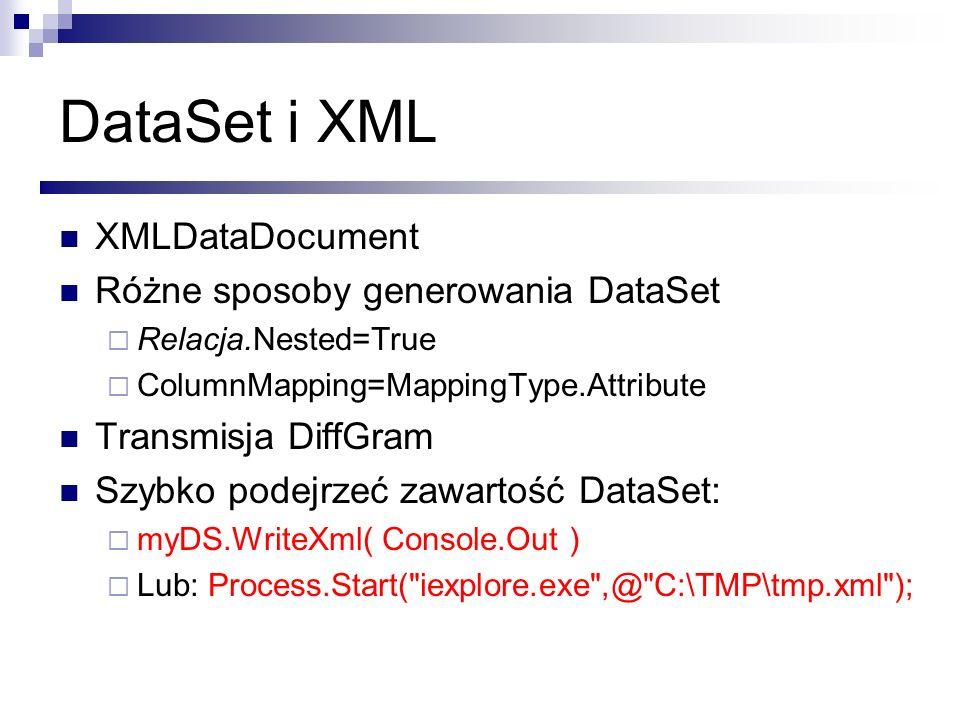 DataSet i XML XMLDataDocument Różne sposoby generowania DataSet