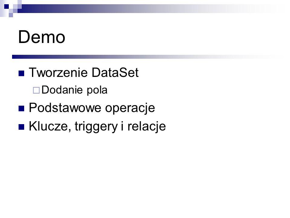 Demo Tworzenie DataSet Podstawowe operacje Klucze, triggery i relacje