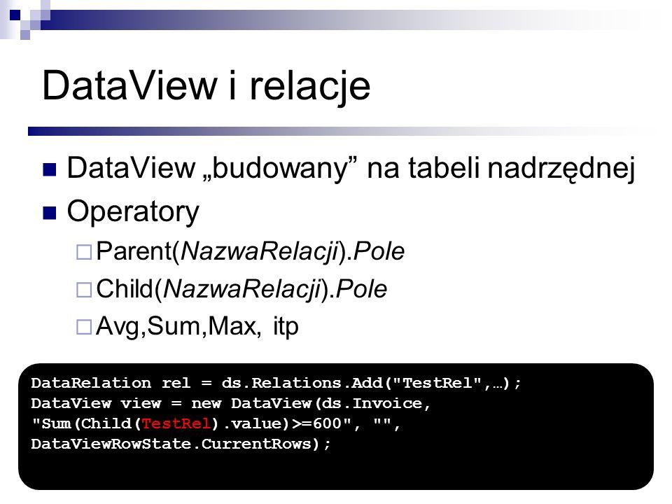 """DataView i relacje DataView """"budowany na tabeli nadrzędnej Operatory"""