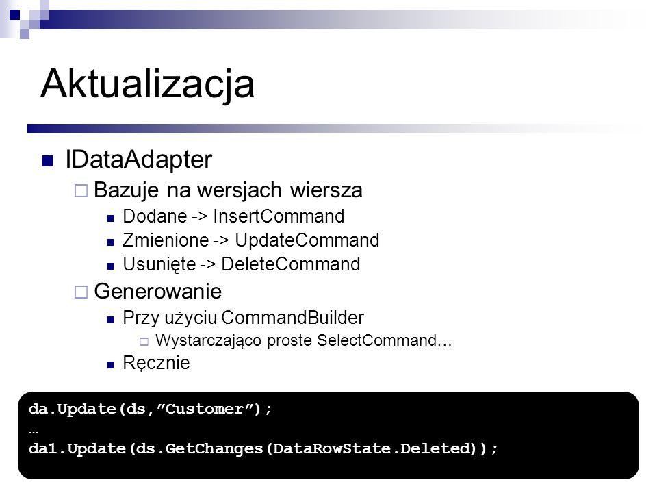 Aktualizacja IDataAdapter Bazuje na wersjach wiersza Generowanie
