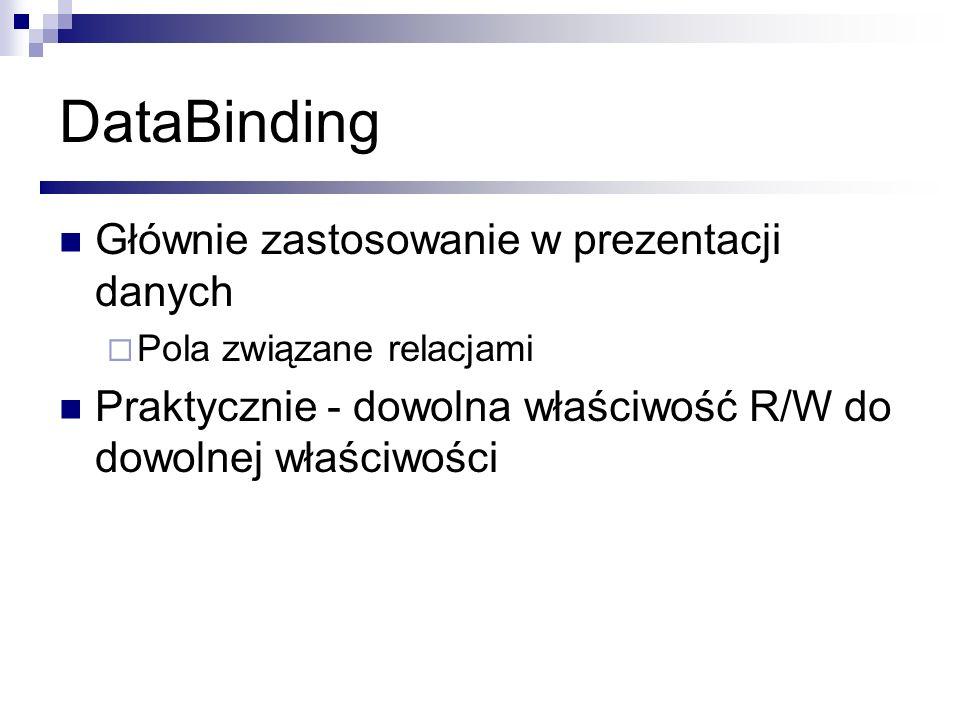 DataBinding Głównie zastosowanie w prezentacji danych