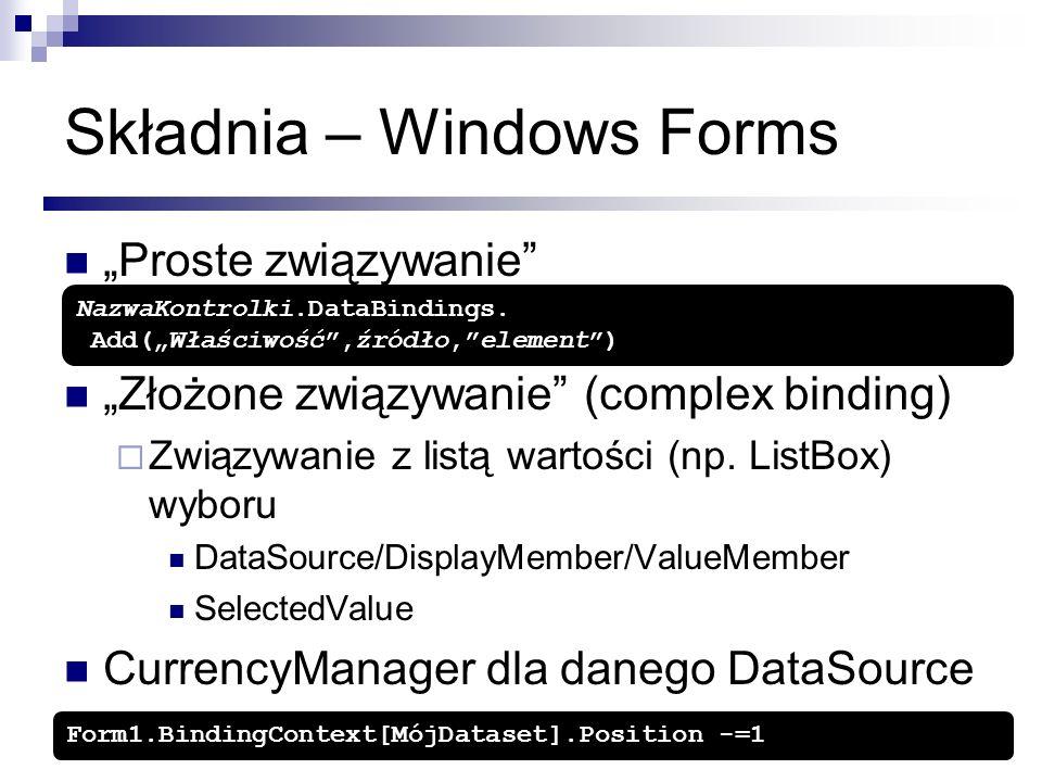 Składnia – Windows Forms