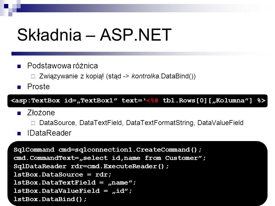 Składnia – ASP.NET Podstawowa różnica Proste Złożone IDataReader