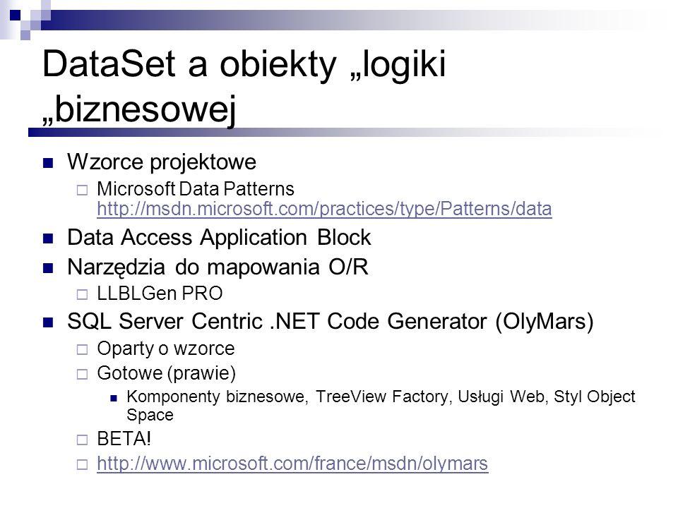 """DataSet a obiekty """"logiki """"biznesowej"""