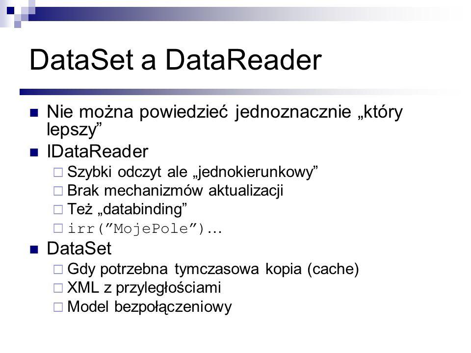 """DataSet a DataReader Nie można powiedzieć jednoznacznie """"który lepszy"""