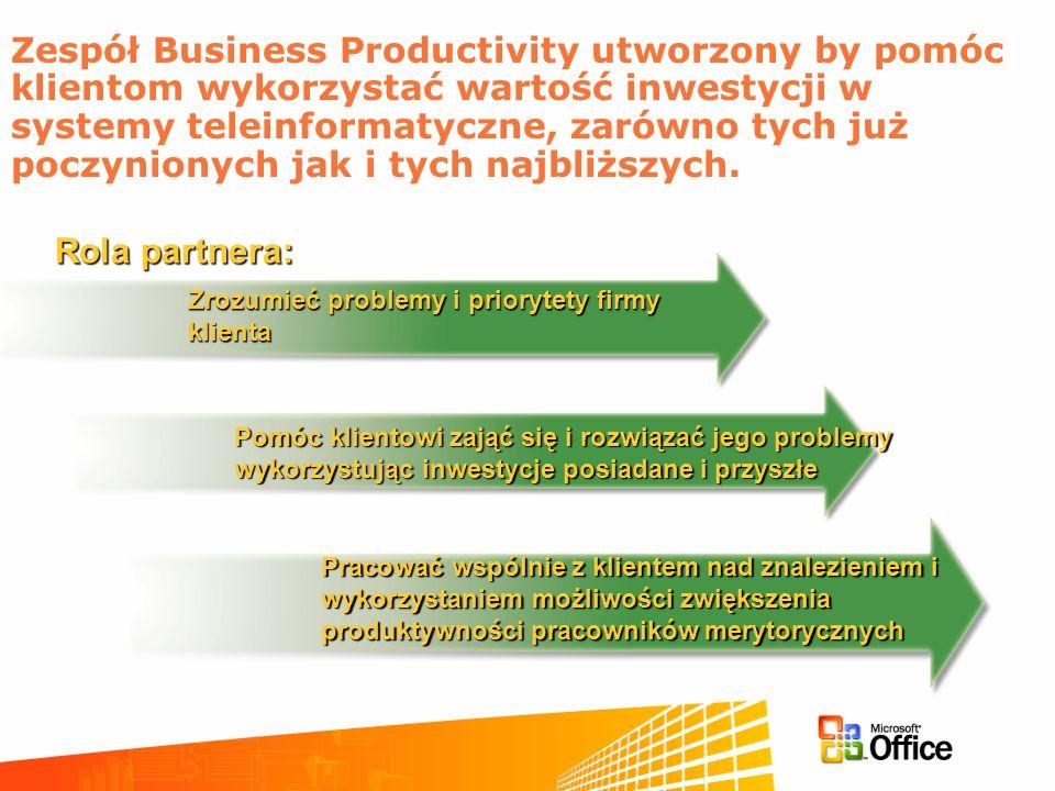Zespół Business Productivity utworzony by pomóc klientom wykorzystać wartość inwestycji w systemy teleinformatyczne, zarówno tych już poczynionych jak i tych najbliższych.