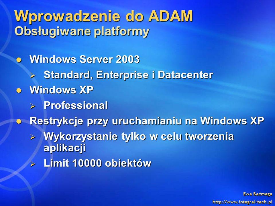 Wprowadzenie do ADAM Obsługiwane platformy