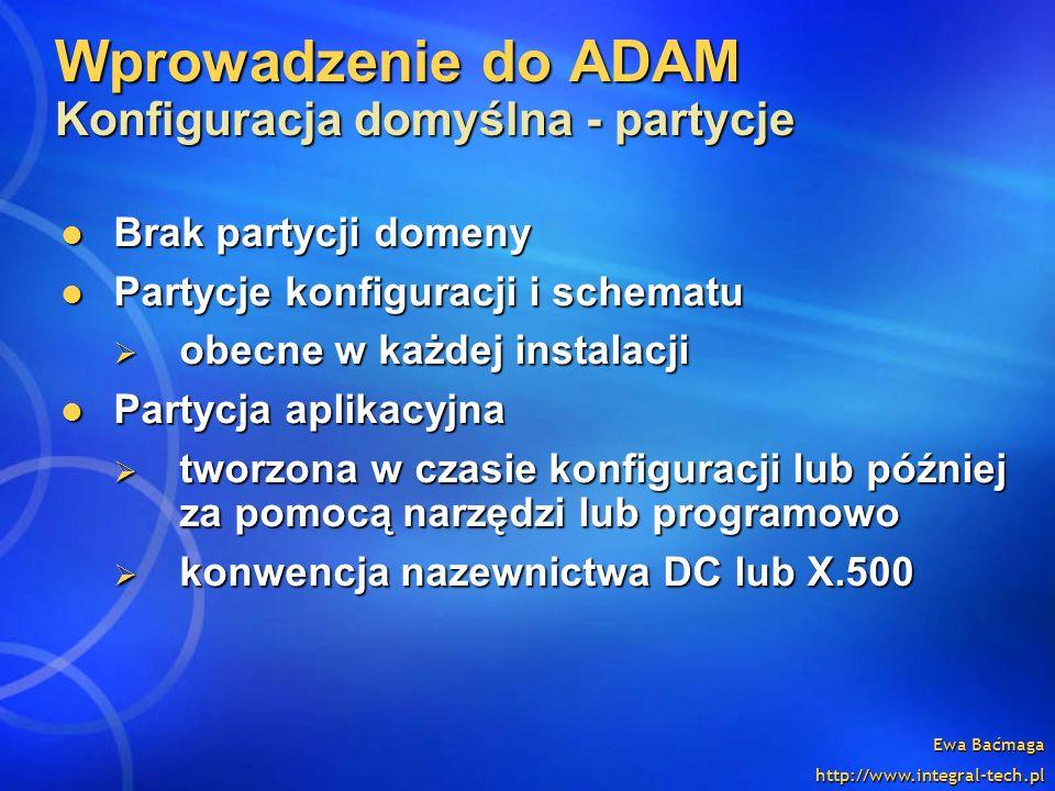 Wprowadzenie do ADAM Konfiguracja domyślna - partycje