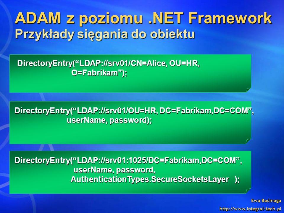 ADAM z poziomu .NET Framework Przykłady sięgania do obiektu