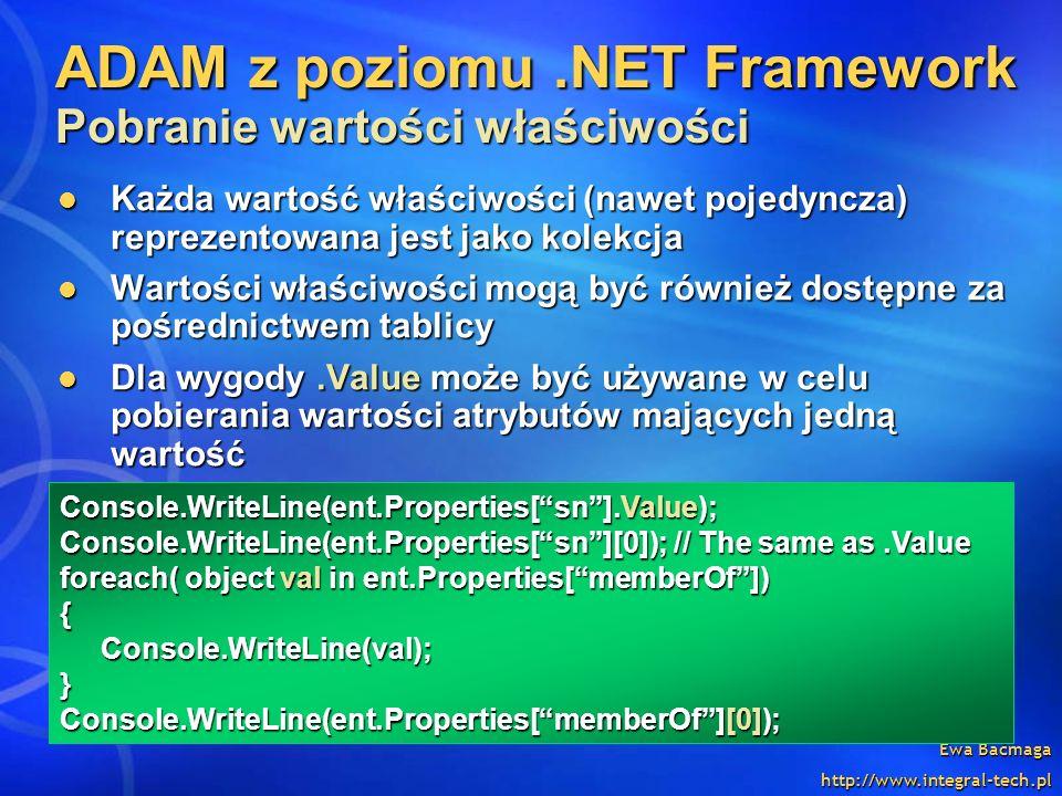 ADAM z poziomu .NET Framework Pobranie wartości właściwości