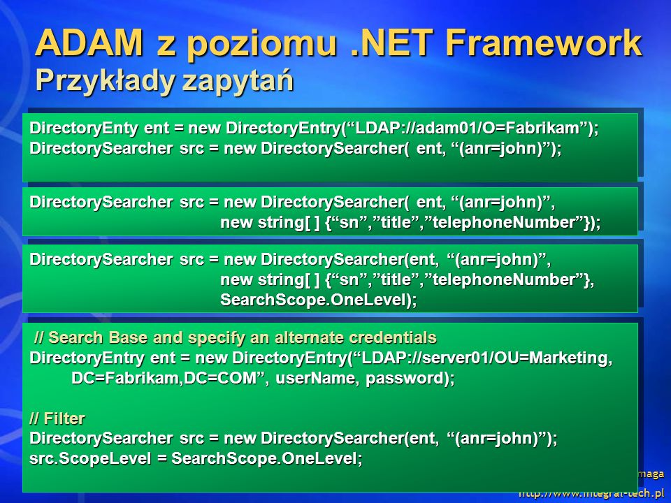 ADAM z poziomu .NET Framework Przykłady zapytań