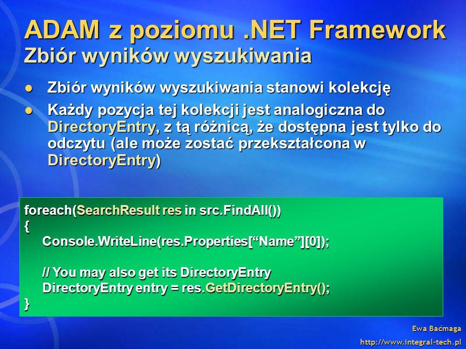 ADAM z poziomu .NET Framework Zbiór wyników wyszukiwania