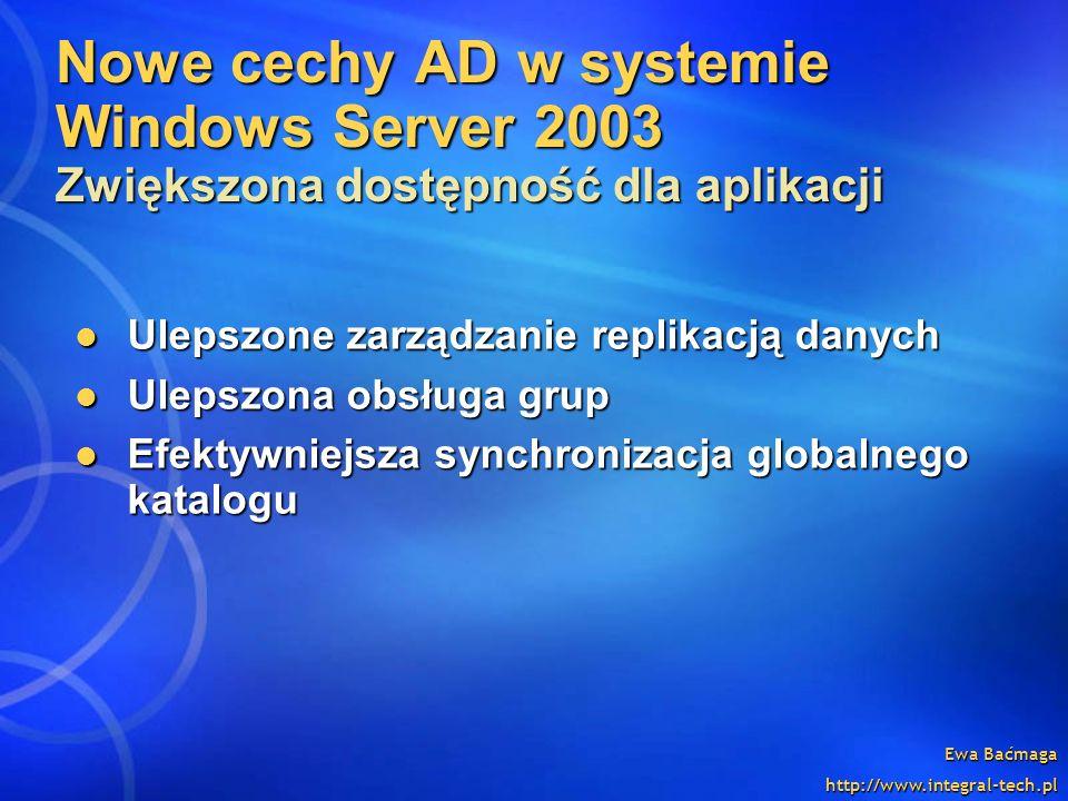 Nowe cechy AD w systemie Windows Server 2003 Zwiększona dostępność dla aplikacji