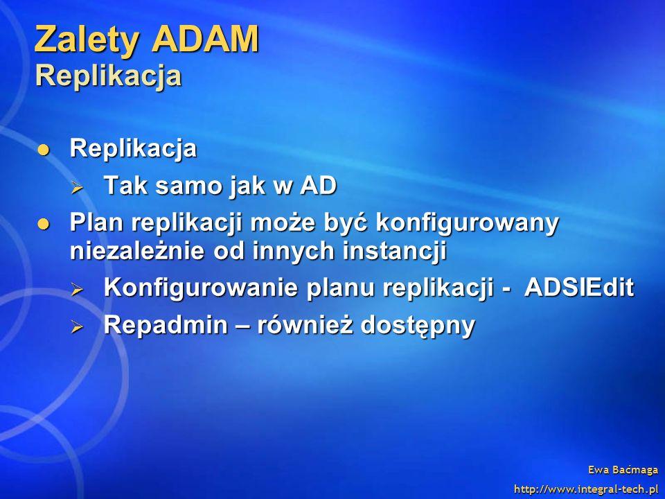 Zalety ADAM Replikacja