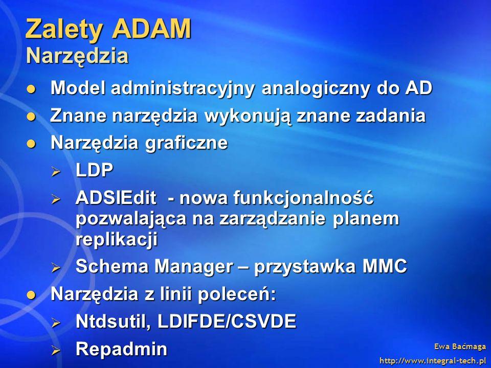 Zalety ADAM Narzędzia Model administracyjny analogiczny do AD
