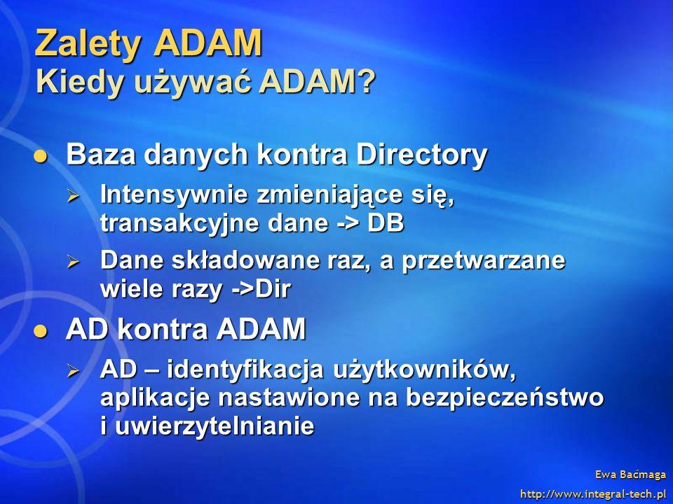 Zalety ADAM Kiedy używać ADAM