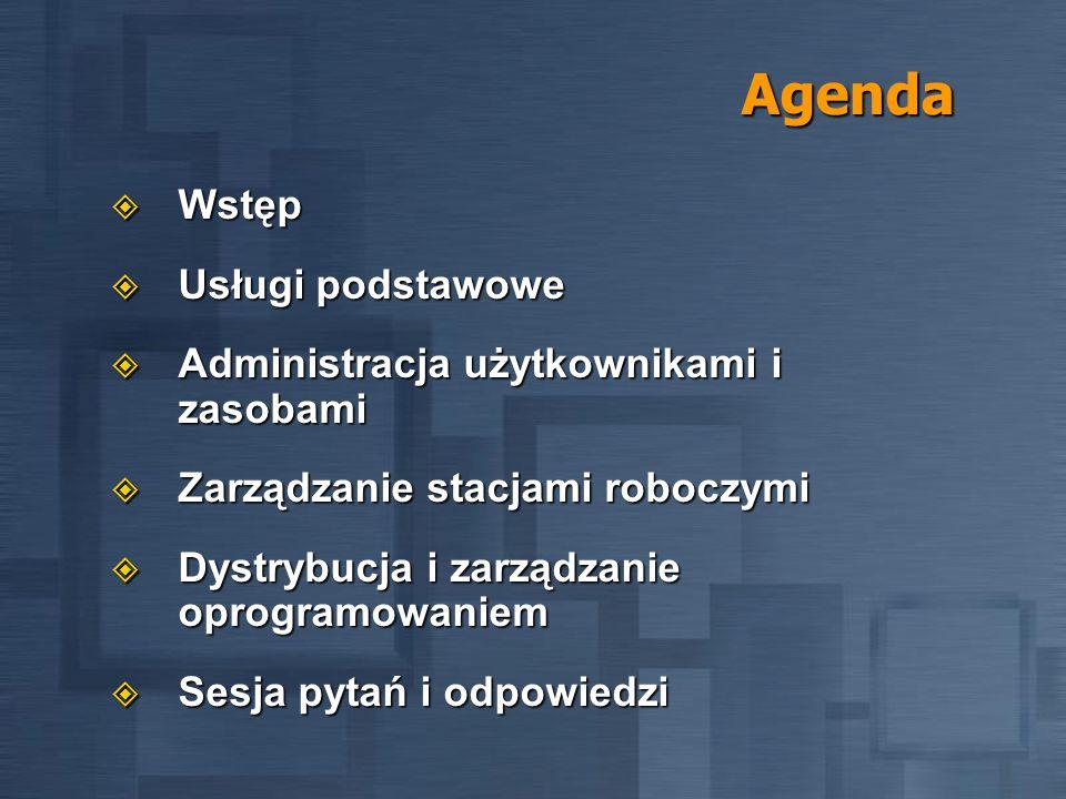 Agenda Wstęp Usługi podstawowe Administracja użytkownikami i zasobami
