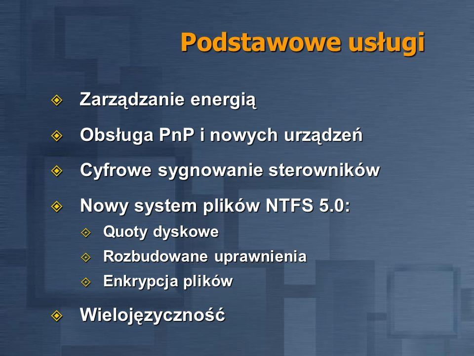 Podstawowe usługi Zarządzanie energią Obsługa PnP i nowych urządzeń