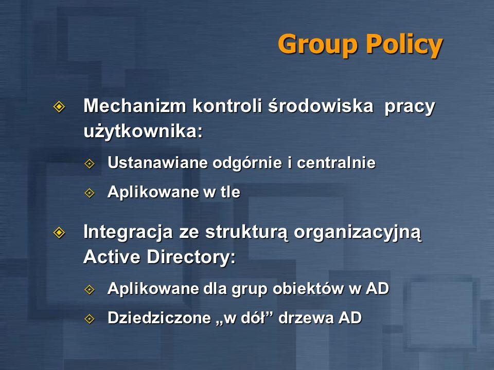 Group Policy Mechanizm kontroli środowiska pracy użytkownika: