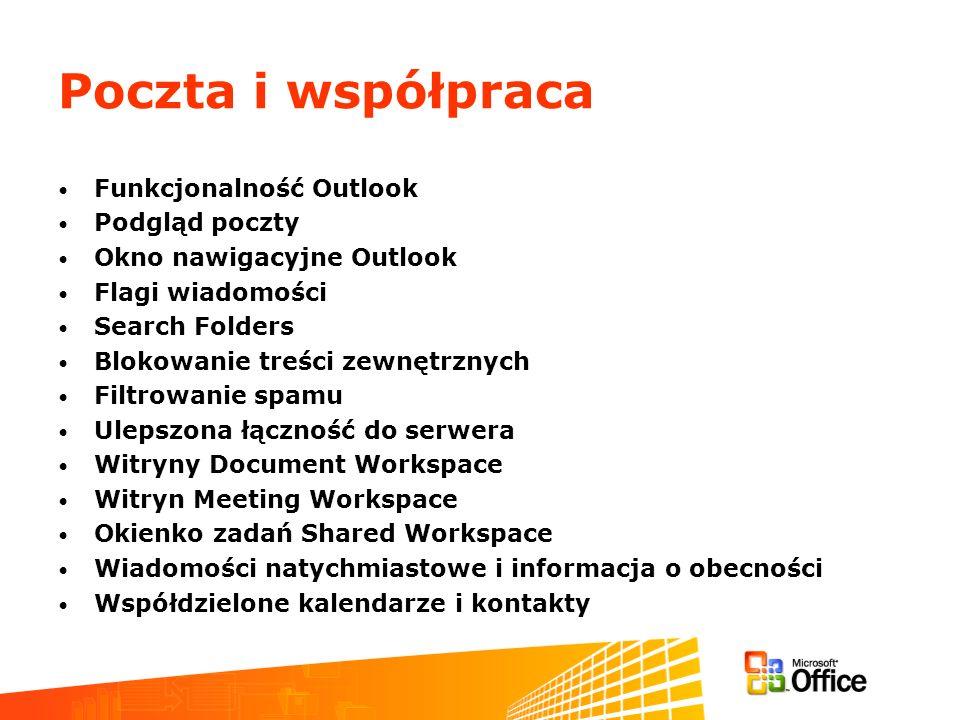 Poczta i współpraca Funkcjonalność Outlook Podgląd poczty