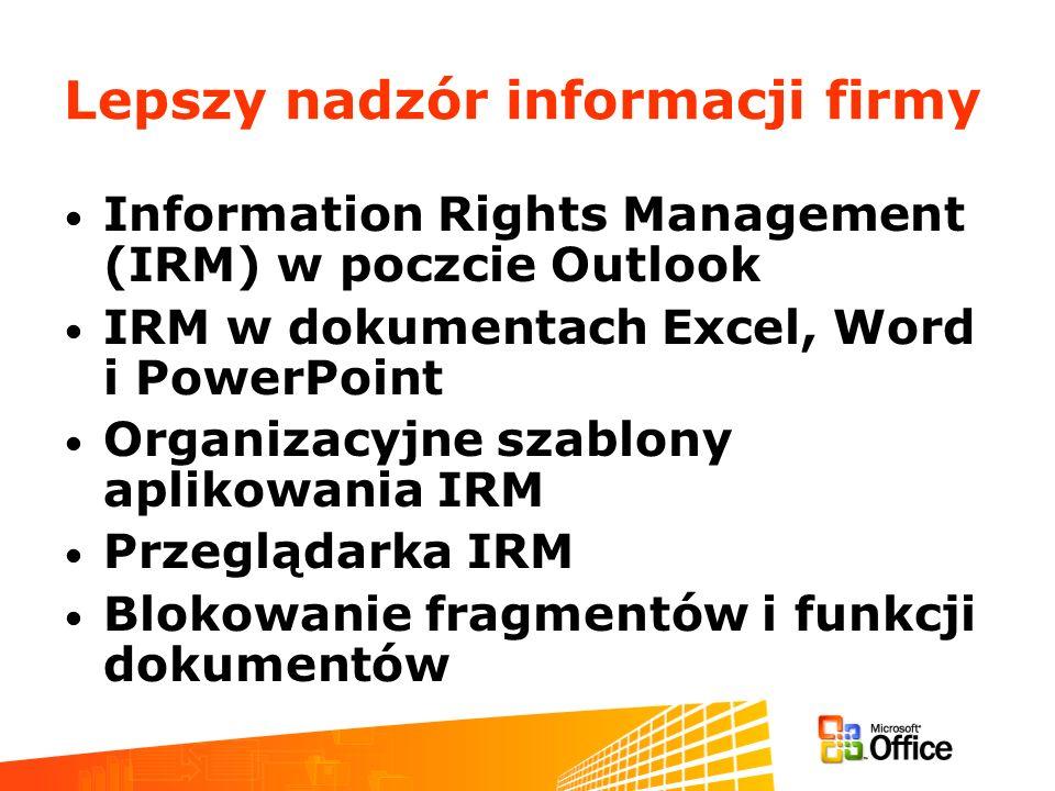 Lepszy nadzór informacji firmy