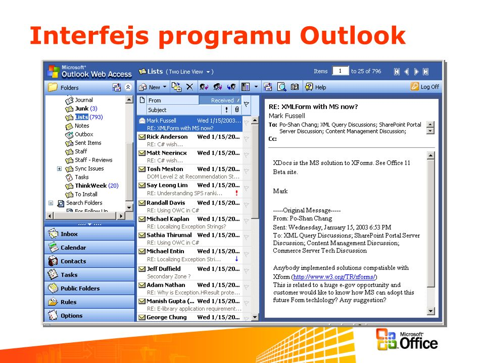 Interfejs programu Outlook